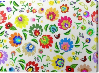 Traditional Polish repetitive folk floral pattern vector Canvas Print