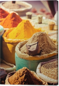 Traditional spices and dry fruits in local bazaar in India. Canvas Print
