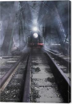 train rides over the bridge Canvas Print