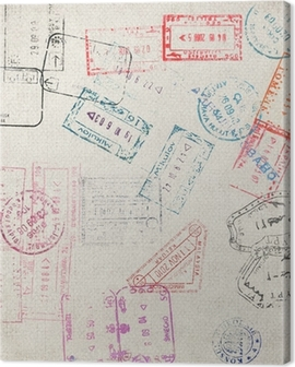 Travel background with different passport stamps Canvas Print
