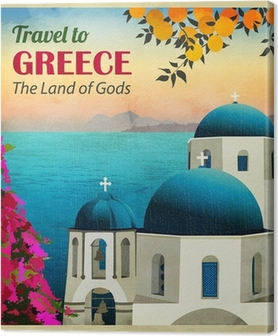 Travel to Greece Poster Canvas Print