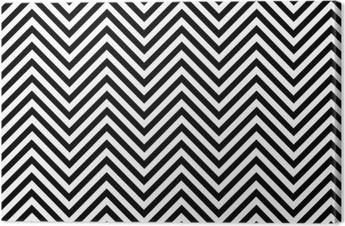 Trendy chevron patterned background black and white Canvas Print