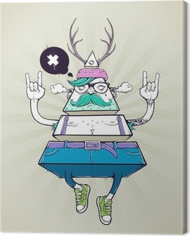 Triangle hipster bizarre character Canvas Print