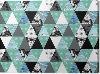 triangle seamless pattern with grunge and watercolor textures. Canvas Print