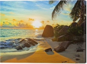 Tropical beach at sunset Canvas Print