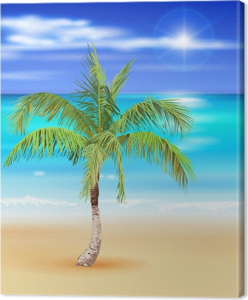 tropical beach vector illustration of the palm tree canvas print