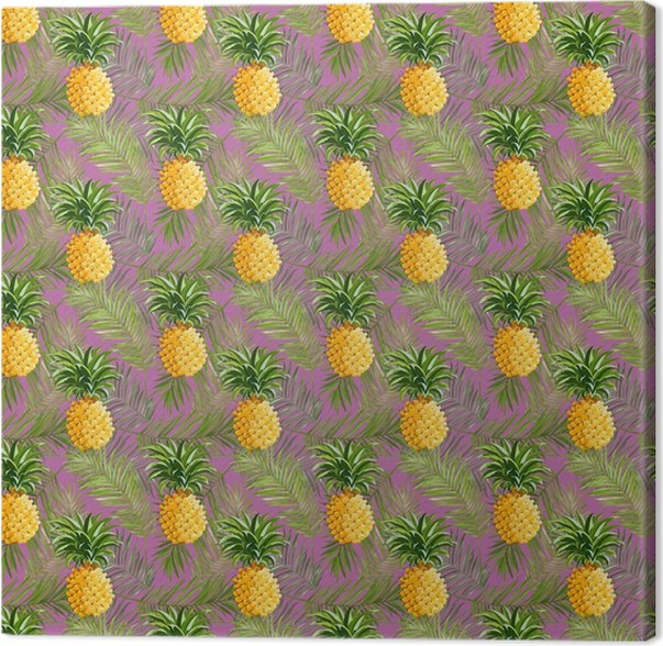 Tropical Palm Leaves and Pineapples Background Canvas Print - Pineapple Fever