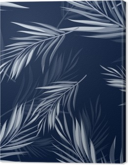 Tropical seamless monochrome blue indigo camouflage background with leaves and flowers Canvas Print