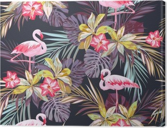 Tropical summer seamless pattern with flamingo birds and exotic plants Canvas Print