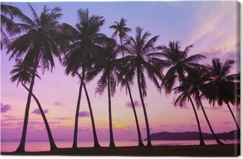 Tropical sunset over sea with palm trees, Thailand Canvas Print