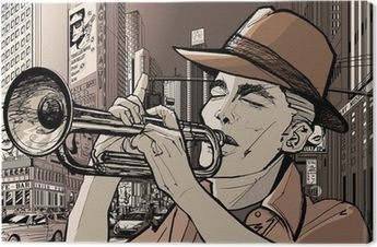 trumpeter in new-york Canvas Print