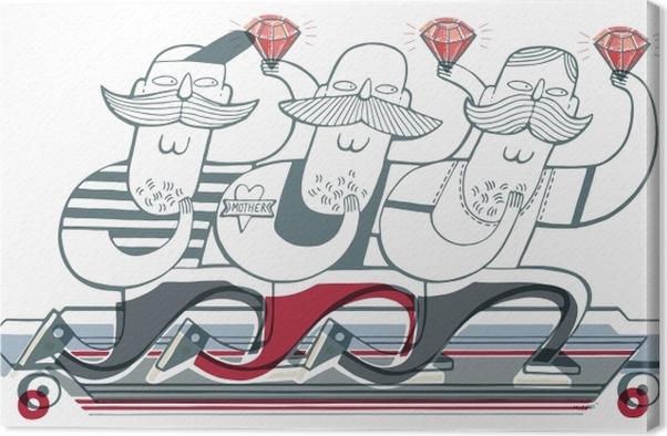 Trzech kolegów na longboardzie z rubinami Canvas Print - Sticker Art