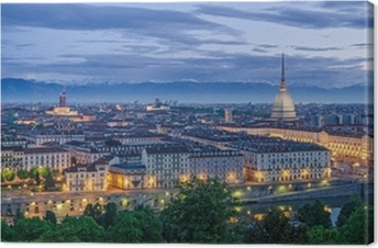 Turin panorama at twilight Canvas Print