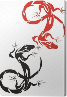 Two lizards (red and black) Canvas Print