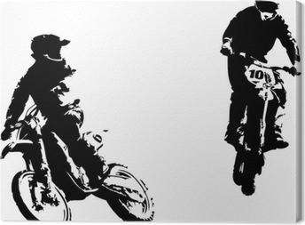 two motocross riders Canvas Print