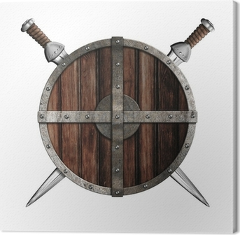 Two swords behind wooden round shield isolated Canvas Print