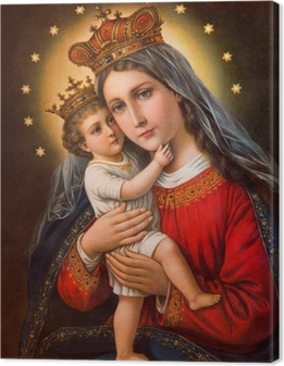 Typical catholic image of Madonna with the child Canvas Print