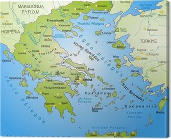 Umgebungskarte Von Griechenland Mit Hauptstadten Poster Pixers