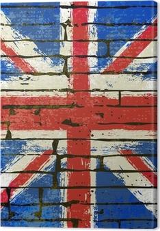 Union Jack on a Brick Wall Background Canvas Print