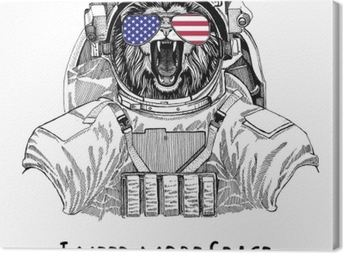 Usa flag glasses American flag United states flag Lion wearing space suit Wild animal astronaut Spaceman Galaxy exploration Hand drawn illustration for t-shirt Canvas Print