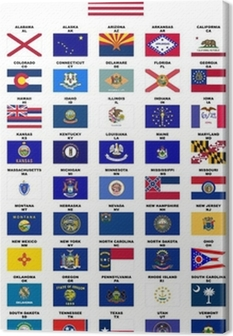 USA : Flags of the States (with names and post codes) Canvas Print