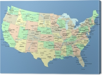USA map with names of states and cities Canvas Print