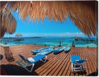 Vacation in Tropic Paradise. Isla Mujeres, Mexico Canvas Print