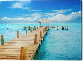 Vacation in Tropic Paradise. Jetty on Isla Mujeres, Mexico Canvas Print