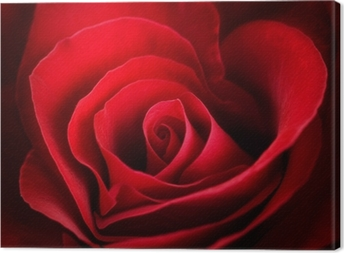 Valentine Red Rose. Heart shaped Canvas Print