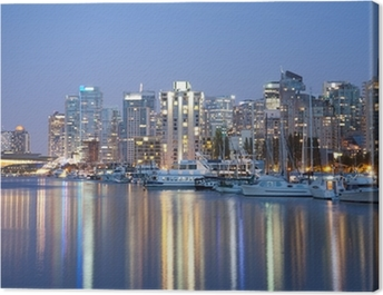 Vancouver skyline at night Canvas Print