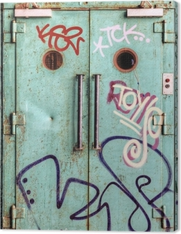 Vandalized lift door in an abandoned factory Canvas Print