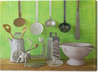 various vintage kitchen utensils Canvas Print