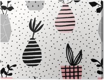 Vases and Pots Seamless Pattern Canvas Print