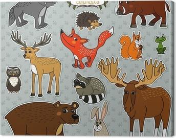 vector animals owl deer fox Canvas Print