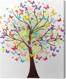 Vector beautiful spring tree, consisting of butterflies Canvas Print