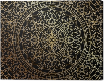Vector black background with gold oriental ornament Canvas Print