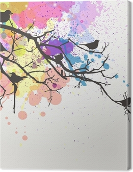Vector Branch with birds on an abstract background Canvas Print