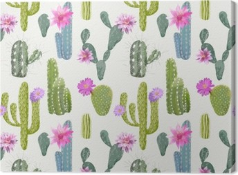 Vector Cactus Background. Seamless Pattern. Exotic Plant. Tropic Canvas Print