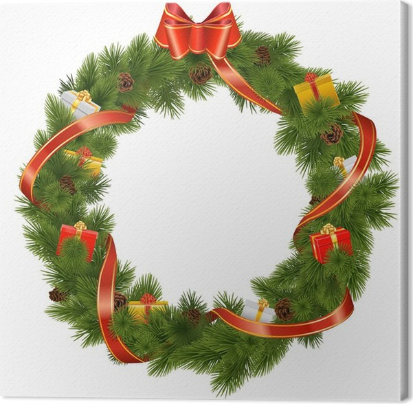 Vector Christmas Wreath with Gifts Canvas Print • Pixers® • We live ...
