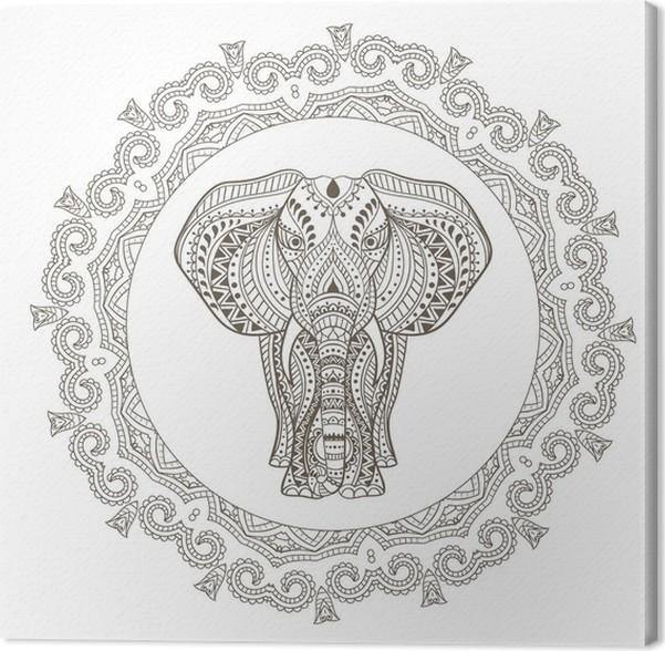 Vector Ethnic Indian Elephant in Mandala Frame Canvas Print • Pixers ...