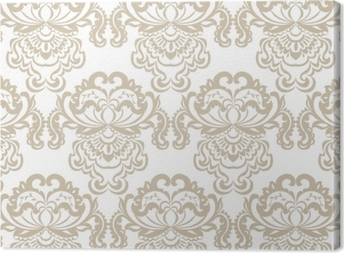 Vector floral damask baroque ornament pattern element. Elegant luxury texture for textile, fabrics or wallpapers backgrounds. Beige color Canvas Print