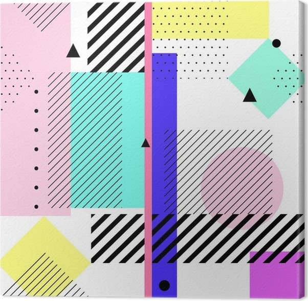 vector geometric elements memphis cards retro style pattern from
