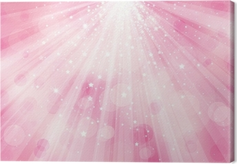 Vector glitter pink background with rays of lights and stars. Canvas Print