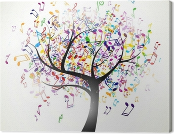 Vector Illustration of an Abstract Background with Music notes Canvas Print