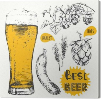 Vector illustration of beer and sausages. Pub menu. Canvas Print