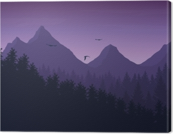 Vector illustration of mountain landscape with forest under purple night sky with clouds and flying birds Canvas Print