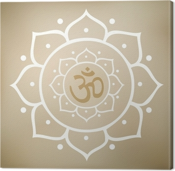 Vector Lotus Mandala with Om Symbol Canvas Print