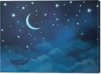 Vector night sky background stars and moon. Canvas Print