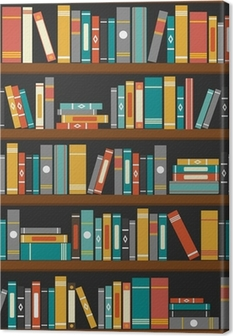 Vector of library book shelf background Canvas Print