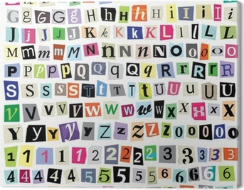 Vector Ransom Note- Cut Paper Letters, Numbers, Symbols Canvas Print